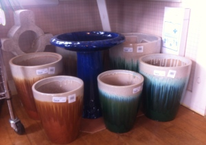 Ceramic Glazed Pots & Bird Bath